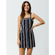SKY AND SPARROW Stripe Button Front Navy Womens Structured Dress