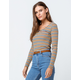 POLLY & ESTHER Stripe Cinch V-Neck Mustard Womens Tee