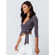 POLLY & ESTHER Stripe Tie Front Navy Womens Crop Top
