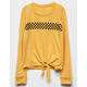 FULL TILT Checker Tie Front Mustard Girls Tee