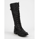 WILD DIVA Tall Lace Up Black Womens Combat Boots
