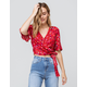 HEART & HIPS Ditsy Ruffle Sleeve Red Womens Wrap Top