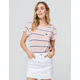 RVCA Big Stripe Tea Rose Womens Pocket Tee