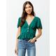 PATRONS OF PEACE Button Peplum Emerald Womens Crop Top