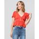 SKY AND SPARROW Button Waist Peplum Rust Womens Crop Top