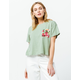 OTHERS FOLLOW Floral Sage Womens Crop Pocket Tee