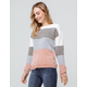 POOF Color Block Chenille Pink Womens Sweater