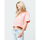 CHAMPION Embroidered Script Logo Papaya Womens Crop Tee