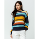 SKY AND SPARROW Multi Stripe Navy Womens Sweater