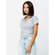 FULL TILT Malibu Heather Gray Womens Crop Polo Shirt