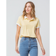 FULL TILT Elastic Hem Stripe Yellow Womens Polo Shirt