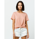 SKY AND SPARROW Solid Knot Front Coral Womens Tee