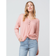 FULL TILT Thermal Knot Front Coral Womens Henley