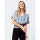 ANGIE Button Front Smocked Womens Crop Top