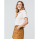 FULL TILT Elastic Hem Stripe Coral Womens Polo Shirt