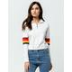 FULL TILT Varsity Stripe White Womens Half Zip Top