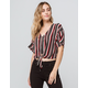 KAII Stripe Tie Front Womens Top