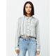GOOD LUCK GEM Stripe Button Front Sage Womens Top