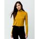 SKY AND SPARROW Stripe Turtleneck Mustard Womens Top