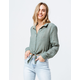 GOOD LUCK GEM Button Front Sage Womens Tie Front Top