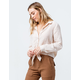 GOOD LUCK GEM Button Front Peach Womens Tie Front Top