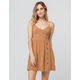 IJOAH Solid Button Front Camel Fit N Flare Dress