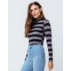 SKY AND SPARROW Stripe Navy Womens Turtleneck Top