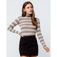SKY AND SPARROW Stripe Camel Womens Turtleneck Top