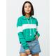 FULL TILT Chest Stripe Green & White Womens Crop Hoodie