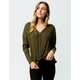 SKY AND SPARROW Tie Front Olive Womens Thermal
