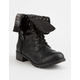 SODA Fold Down Faux Leather Black Womens Combat Boots
