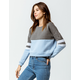 FULL TILT Color Block Light Blue Womens Crop Sweatshirt