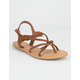 WILD DIVA Braid Ankle Strap Tan Womens Sandals