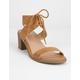 WILD DIVA Lace Up Block Tan Womens Heeled Sandals