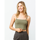 DESTINED Ribbed Olive Womens Crop Tank Top