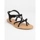 WILD DIVA Braid Ankle Strap Black Womens Sandals