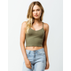 DESTINED Ribbed V-Neck Olive Womens Crop Tank Top
