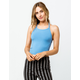 DESTINED Ribbed Blue Womens Halter Top
