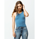 DESTINED High Neck Racerback Blue Womens Crop Tank Top