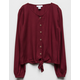 WHITE FAWN Button & Tie Front Burgundy Girls Top