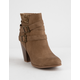SODA Sweater Knit Block Heel Taupe Womens Booties
