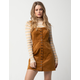 SKY AND SPARROW Corduroy Button Front Camel Structured Dress