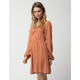 SKY AND SPARROW Cinch Front Print Rust Dress