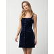 SKY AND SPARROW Corduroy Button Front Navy Structured Dress