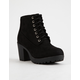 SODA Lug Sole Lace Up Black Womens Booties