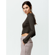 BOZZOLO Heather Gray Womens Crop Thermal