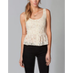 FULL TILT Lace Hook & Eye Womens Peplum Top