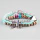FULL TILT 3 Piece Beaded Chevron Charm Bracelets