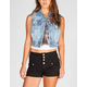 YMI Womens Denim Crop Vest