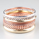 FULL TILT 8 Piece Tri Tone Bangle Bracelets
